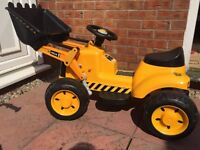 Battery powered JCB ride on digger