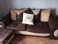 Three seater sofa cuddle seat foot stool