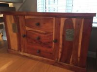 Solid Acacia Wood Sideboard and Mirror. Good Condition. Collection only