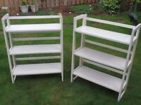 3 tier folding shelf units x 2 off. Sturdy whitewood and plywood. Stacking if required.