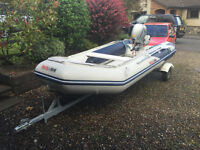 Honwave T38ie inflatable and Honda BF20 Outboard and trailer