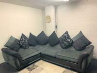 SOLD Grey & black dfs corner sofa delivery 🚚 sofa suite couch furniture