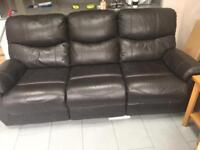 Faux leather 3 Seater sofa, recliner 2 sears