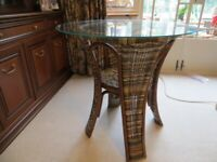 Cane bistro table with glass top (unused)