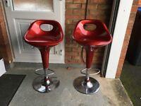 Crescent Bar Stool Red x 2
