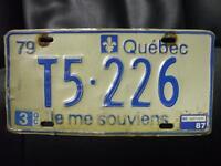 Recherche plaque immatriculation 1979 et autres Québec