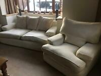 3 seater sofa, 2 arm chairs and Pouffe