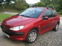 Peugeot 206 for sale. Great runner. Whole year MOT and 2 brand new tyres.