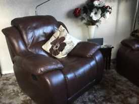 Armchair brown leather recliner manual