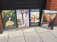 Four large colourful attractive travel-themed posters in modern perspex frames central bargain
