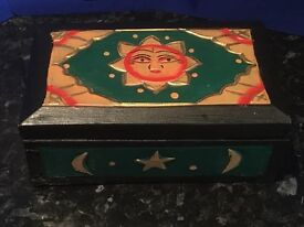 Sun Moon & Stars Jewellery Trinket Wooden Box