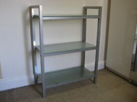 Good Quality Shelving / TV Unit from John Lewis, Metal Frame and Frosted Glass - Very good condition