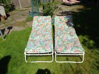 two foldaway sunbeds no longer required, fully padded, lovely pattern see images. Fully adjustable.