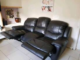 2 3 seater recliner sofas chocolate leather in good condition brought them from harveys 3 years ago.