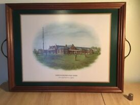 Wooden tray depicting Troon Golf Course