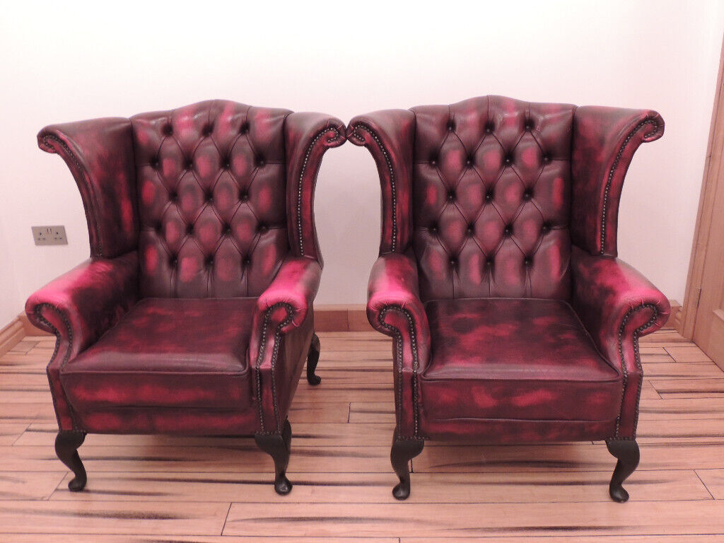 Pair of Chesterfield Armchairs red (UK Delivery) | in ...