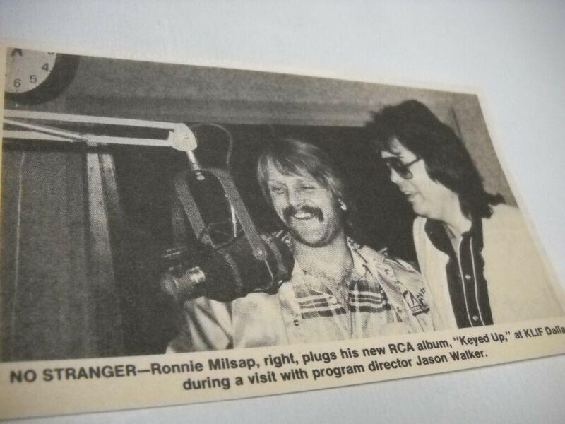 RONNIE MILSAP & Jason Walker at KLIF radio Dallas 1983 music biz promo pic/text
