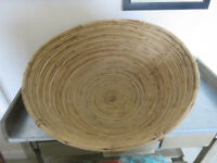 "Large round rattan willow straw basket-storage or wall decor 18""x 10"" high"