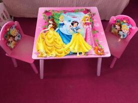 Girls Disney princess table
