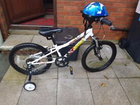 Apollo boys mountain bike 20 inch wheels 6 gears steel frame with stapleizers and helmet £60