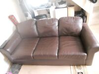 3 seater chocolate brown leather sofa