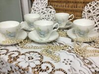 1940s Vintage Beautiful Monfort Biltons Made in England Teacup & Saucers