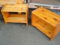 Pair of Ikea Solid Pine Wood Bedside Tables