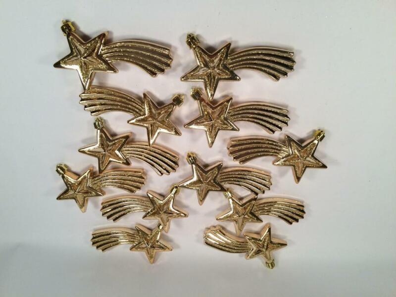 "LOT OF 12 UNIQUE GOLD SHOOTING STARS CHRISTMAS ORNAMENTS 4 1/2"" PLASTIC"