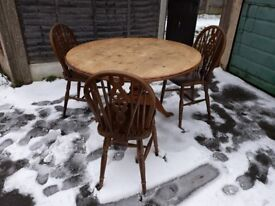 Vintage pine farmhouse/country style dining table and 3 wheelback chairs