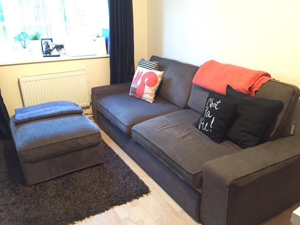 ikea kivik dark brown 3 seater sofa bed and footstool in. Black Bedroom Furniture Sets. Home Design Ideas