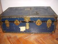 Beautiful blue 1929 vintage Steamer Trunk for sale.