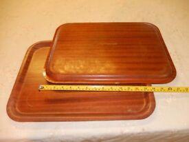 Two large trays, mahogany wood effect