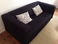 Two seater black Ikea sofa