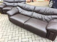 DARK BROWN LEATHER 3 & 2 LARGE SOFAS SUITE - COLLECTION ONLY