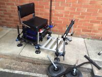 Great seat box minus tackle shown .with footplate.bumper bar and wheel set