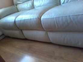 Leather recliner cream sofa