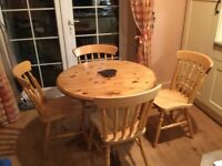 Wooden table and chair free but must be collected