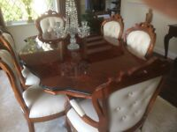 Mahogany italian style dining table and chairs