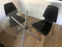 Glass bistro table and 2 chairs