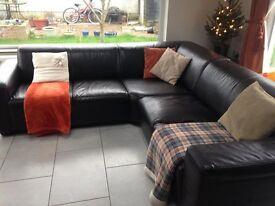Leather effect corner sofa
