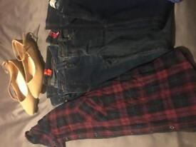 Size 10 5 pairs of skinny jeans, shoes and shirt