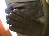 Brand New Warm Black Real Leather Gloves with Thinsulate, L/XL