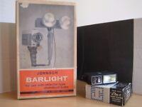 Vintage Johnson Barlight and Solid State Pal Sun Flash Electronic Flash Unit