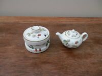 Wedgwood dolls tea pot and jampot