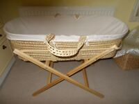 NURSERY BUNDLE! Lovely Cream Moses Basket With Hood, Mattress,Fitted Sheet,Duvet,Wrap etc