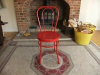 CHAIR MODERN METAL BENTWOOD STYLE RED WITH RESIN WICKER LOOK-A-LIKE SEAT IN GOOD CONDITION £10