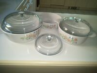SET OF 3 CORNING WARE SERVING DISHES FOR SALE