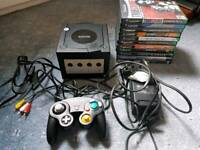 Black Nintendo Gamecube with 9 games and memory card