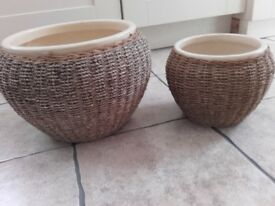 2 Ceramic and Seagrass Planters One Large One Small