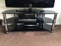 Black Glass TV Unit. (Contents not included)